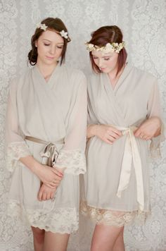 2 Lace trimmed and lined chiffon robes. Great as bridal robes, boudoir robes, bridal party robes and wedding day robes.