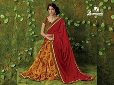Make a Glorious Appearance in this Soulfully Radiant & Modern Red & Orange Floral Printed Half and Half Saree that is All about Glow and Sophistication. Laxmipati Sarees, Lehenga Saree, Fancy Sarees, Party Wear Sarees, Saree Collection, Bridal Collection, Saree Shopping, Half Saree, Printed Sarees