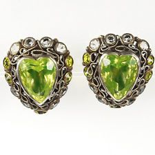 Hobe Sterling Gold Filigree and Peridot Heart Clip Earrings