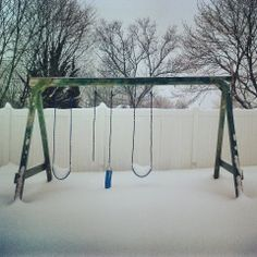"""Tiara Coleman of Harrisonburg, VA says """"Too much snow for one swing to handle."""" #WHSVsnow"""