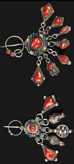 Algeria | Two small fibula; silver, enamel and coral | Beni Yenni, Grande Kabylie | ca. 20th century