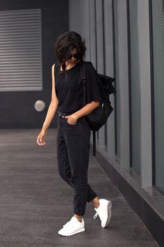 black mom Topshop jeans - white leather Reebok shoes - black backpack Ynot bag