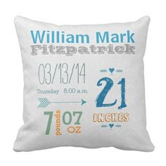 Boy's Nursery Room Child Stat Arrow Sample Throw Pillow. >>> Take a look at more at the photo