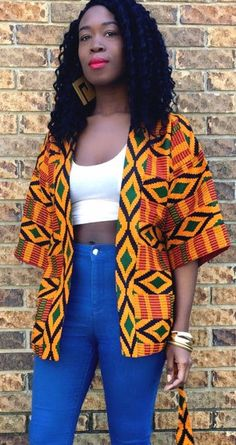 Kente Jacket. We love kente printed pieces because of their wild versatility and ability to take a look from prim and posh to downtown-cool. Fully lined.   Ankara | Dutch wax | Kente | Kitenge | Dashiki | African print bomber jacket | African fashion | Ankara bomber jacket | African prints | Nigerian style | Ghanaian fashion | Senegal fashion | Kenya fashion | Nigerian fashion | Ankara jacket (affiliate)