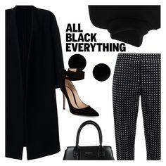 """Mission Monochrome: All-Black Outfit"" by megan-vanwinkle ❤ liked on Polyvore featuring Chloé, Ter Et Bantine, Moschino, MM6 Maison Margiela, Gianvito Rossi, polyvoreeditorial, allblackoutfit and powerlook"
