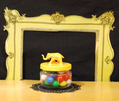 Jar with Yellow Elephant Lid by TonysDinostore on Etsy