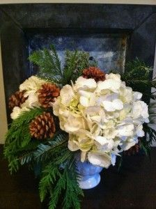 Winter White bouquet for your mantle or centerpiece