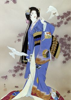 (Japan) Sachi by Haruyo Morita ). Japanese Drawings, Japanese Prints, Japanese Kimono, Samurai, Geisha Art, Art Asiatique, Art Japonais, Japanese Painting, Chinese Painting
