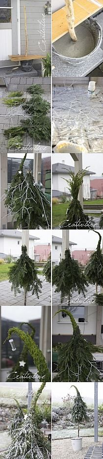 "If You want make originally tree for Yule DIY idea with photos to build a ""Gnome"" type Christmas or - use at home, store or restaurant for display! Christmas Planters, Christmas Porch, Outdoor Christmas Decorations, Christmas Projects, Winter Christmas, Christmas Home, Christmas Wreaths, Christmas Ornaments, Holiday Decor"