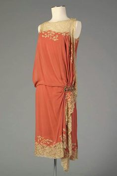 1926, America Silk chiffon and lace dress Kent State University Museum