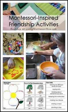 Roundup of Montessori-inspired friendship ideas and activities . including ideas parents can use to help foster kids' friendships. Good resource for teachers who want to cultivate a tight-knit community within the classroom. Learning Activities, Preschool Activities, Autumn Activities, Peace Education, Baby Education, Friendship Lessons, Montessori Preschool, Montessori Education, Social Emotional Development