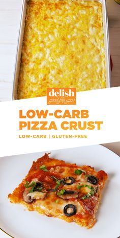 PSA: Low-Carb Pizza Crust exists and we've never been happier. Get the recipe at Delish.com. #recipe #easyrecipe #easy #pizza #cheese #lowcarbdiet #lowcarb #lowcarbrecipe #italian #glutenfree #glutenfreerecipe #mozzarella #parmesan #vegetables #olives #mushrooms