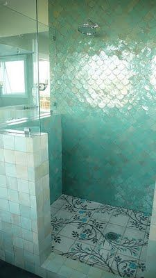 fish scale tiles, so perfect in a bathroom! I absolutely love every inch of this idea (never mind that it would be a BITCH to clean)