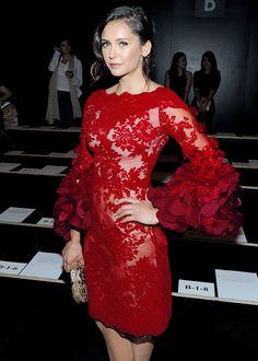 0ae0bcfeb82 Beautiful: Nina Dobrev looked sensational as she arrived at the Marchesa…  See more. Nina Dobrev attends the The Marchesa Spring/Summer 2017 Fashion  Show ...