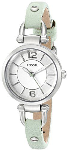 Petite, and I like that there isn't leather behind the watch face -- Fossil Women's ES3743 Georgia Analog Display Analog Quartz Green Watch