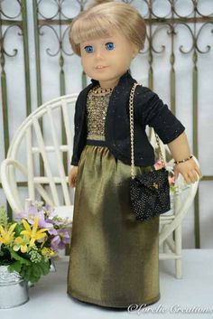 American Girl or 18 Inch Doll Cinderella Red Carpet Dress Outfit with Black/Gold DRESS Jacket SHOES PURSE and Jewelry by LorelieCreations on Etsy