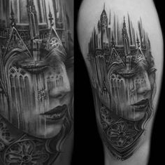 Tony Mancia incorporated Gothic architecture into the face of a woman when creating this black and grey piece.