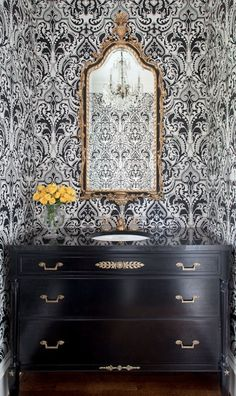 Love this bathroom vanity, mirror and wallpaper!