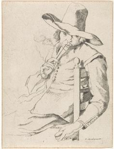 Pijp rokende man met hoge hoed op een stoel, Rudolphus Sondagh, c. 1741 - 1812