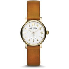 MARC BY MARC JACOBS Mini Baker Leather Strap Watch, 28mm ($175) ❤ liked on Polyvore featuring jewelry, watches, accessories, gold tone watches, gold tone jewelry, water resistant watches, marc by marc jacobs watches and marc by marc jacobs