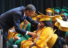 Consoling an overwhelmed student at a Memphis high school graduation ceremony in 2011.