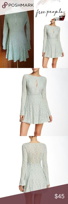 Make an Offer!! Free People Lace Fit & Flare Dress Available in medium & Large New with tags Crew neck with front cutout, bell sleeves, partially lined 97% nylon, 3% spadex Free People Dresses Long Sleeve