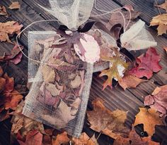 Fall wedding send off! Instead of blowing bubbles --- throw leaves!  Perfect for those earlier evening receptions.