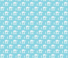 Girl and her Pet At-At white and blue fabric by lopezcreations on Spoonflower - custom fabric