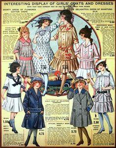 Girls' Coats & Dresses, Eaton's Spring & Summer Catalog, 1917