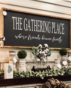 The Gathering Place Sign / Large Sign / The Gathering Place / Wood Sign Measurements Farmhouse Signs, Farmhouse Decor, Modern Farmhouse, Farmhouse Ideas, Farmhouse Style, Vintage Farmhouse, Handmade Home Decor, Diy Home Decor, Do It Yourself Decoration