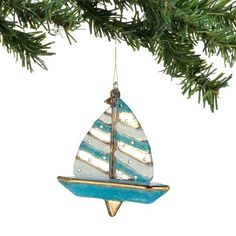 Department 56 Sailboat Glass Hanging Ornament : Department 56