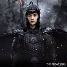 Luhan 鹿晗 as Peng Yong in The Great Wall. Movie will be released in the states and Canada on Feb. 17th, come out and support him