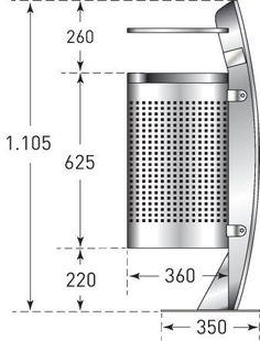 512g1099 TRAFFIC-LINE Stainless Steel Litter Bin MB35 - Drg. Dim..jpg (336×442)