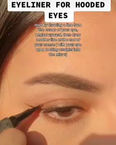 Eyeliner For Hooded Eyes, Hooded Eye Makeup, Makeup Tutorial Eyeliner, Makeup Looks Tutorial, Eye Makeup Steps, Makeup Eye Looks, Edgy Makeup, Skin Makeup, Maquillage On Fleek