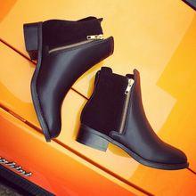 2016 nuevas mujeres de la moda de invierno Side Zipper Low Heel botines para mujer casuales Martin botas zapatos botas negras de mujer QD0012(China (Mainland))