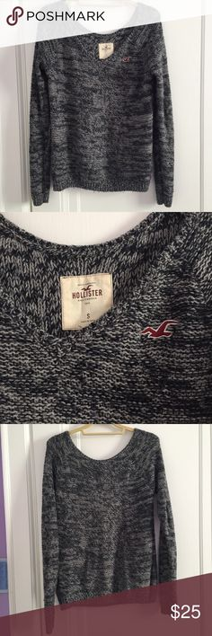 H&M Black and Grey Marbled Sweater V-neck Super soft and comfy sweater from Hollister! Great with leggings and jeans! A little bit of wear but nothing noticeable - Grey and Black marbled! Hollister Sweaters V-Necks