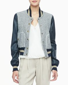 Rachel Zoe Ryder Leather-Sleeve Baseball Jacket, Quincy Draped High-Low Blouse & Cannes Pleated Cuffed Pants - Neiman Marcus