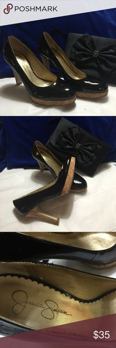 "Jessica Simpson heels Beautiful patent leather with cork bottom Jessica Simpson 4"" heels with platform bottoms. Warn only a few times Jessica Simpson Shoes Heels"