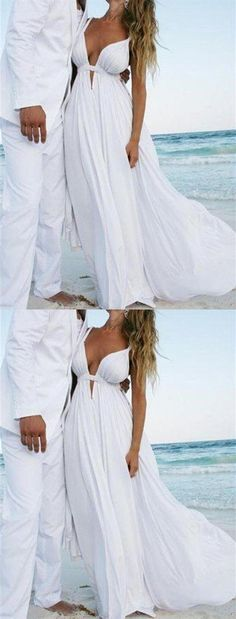 Chic White Prom Dress Chiffon Günstige Langes Abendkleid - New Ideas White Beach Wedding Dresses, Inexpensive Wedding Dresses, Affordable Bridesmaid Dresses, Wedding Dresses Plus Size, Modest Wedding Dresses, Cheap Prom Dresses, Cheap Wedding Dress, Wedding Gowns, Bridal Dresses