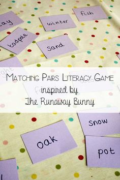 Matching pairs literacy game - inspired by Margaret Wise Brown's Book The Runaway Bunny