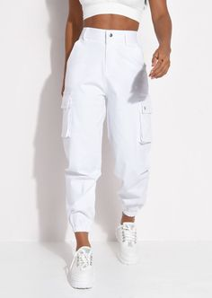 Utility Relax Fit Cargo Jogger Trousers White - Source by renaandrs - Teenage Girl Outfits, Girls Fashion Clothes, Teen Fashion Outfits, Fashion Pants, Outfits For Teens, Cute Comfy Outfits, Sporty Outfits, Swag Outfits, Retro Outfits