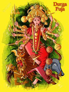 Illustration about Vector design of Indian Goddess Durga sculpture for Durga Puja holiday festival of India in Dussehra Vijayadashami Navratri. Illustration of festival, bijoya, celebration - 124330579 Durga Puja Image, Durga Maa, Durga Goddess, Happy Navratri, Navratri Wishes, Drugs Art, Vaishno Devi, Durga Images, Festivals Of India