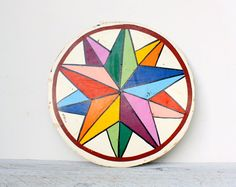 hex signs   Vintage Hand Painted Pastel Hex Sign by shavingkitsuppplies