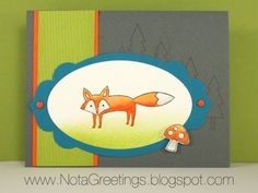 """Fancy Fox""- Fox, Woodland, Watercolor, Life in the Forest, Island Indigo, Basic Gray, Lucky Limeade, Tangerine Tango. Handstamped Greeting Card, Papercrafting, Stampin' Up, By Nota Greetings"