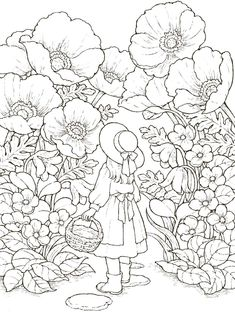 Little Poppy Girl Detailed Coloring Pages, Fairy Coloring Pages, Free Adult Coloring Pages, Coloring Books, Mandala Art, Colorful Pictures, Line Art, Illustration, Art Drawings