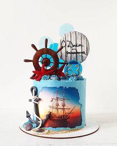 Nautical Cake, Nautical Theme, Birthday Wishes Cake, Modern Cakes, Bird Cakes, Cake Logo, Crazy Cakes, Topper, Pirate Theme
