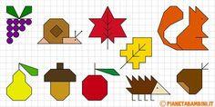 Cornicette Autunnali a Quadretti da Disegnare e Colorare