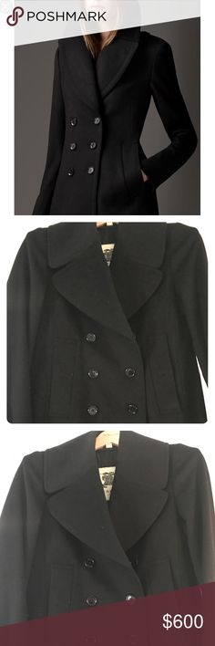 Burberry Pea Coat Wool cashmere black pea coat, size 6US/8UK. Very soft and warm. Worn only a couple of times. Burberry Jackets & Coats Pea Coats