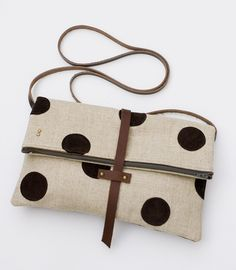 polka dot fold over clutch from Made by Hank.