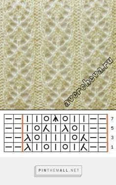 Pretty lace knitting pattern Nr 719 a. Try combining a single r. Strickmuster Pretty lace knitting pattern Nr 719 a. Try combining a single r. Lace Knitting Stitches, Lace Knitting Patterns, Knitting Charts, Lace Patterns, Knitting Designs, Knitting Needles, Free Knitting, Knitting Projects, Knitting Ideas